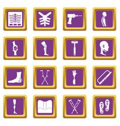 Orthopedics prosthetics icons set purple vector