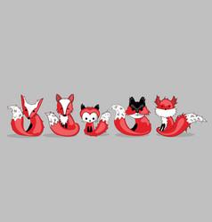 Set of wild red animals vector