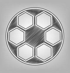 Soccer ball sign pencil sketch imitation vector