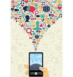 Social media cell phone concept vector