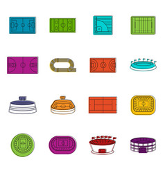sport stadium icons doodle set vector image