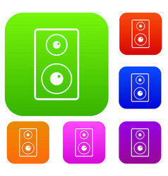 Subwoofer set color collection vector