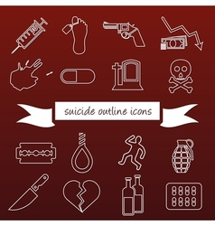 Suicide outline icons vector