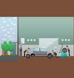 Tire change auto service concept vector