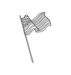 united states of america flag waving national line vector image