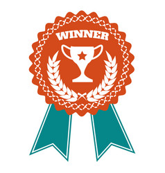 winner award badge with wheat wreath vector image