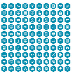 100 database and cloud icons sapphirine violet vector image