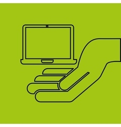 Hand hold laptop e-commerce icon vector