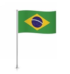 Brazil flag waving on a metallic pole vector