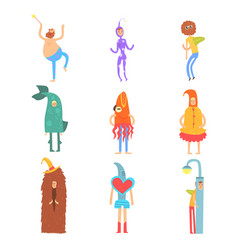 set of people in funny costumes man characters vector image