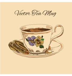 Tea mug and cake vintage style vector