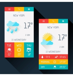 Weather widget in flat design style vector