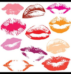 Lip print track set vector