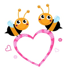 Cute flying Bees with pink love Heart vector image