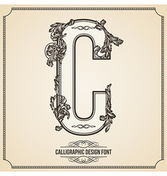 Calligraphic font letter c vector