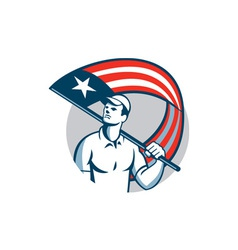 American tradesman holding usa flag circle vector