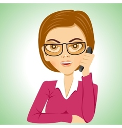 Secretary with glasses talking on phone vector