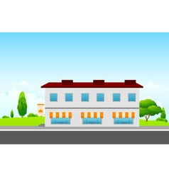 Green landscape with cafe building vector