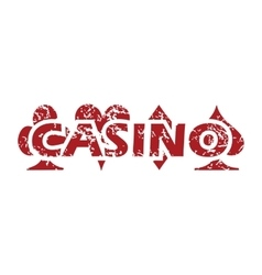 Casino red grunge icon vector