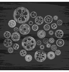 scribbled cogwheels and gears vector image