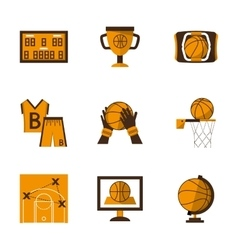 Flat style basketball orange icons vector