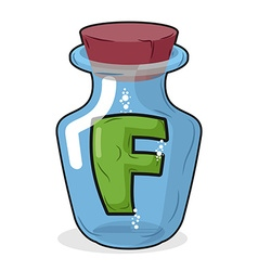 F in bottle for experiments letter in vessel vector