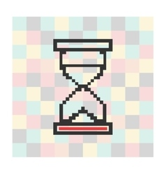 Pixel icon hourglass on a square background vector
