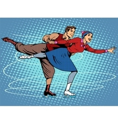 Pair figure skaters ice dance vector