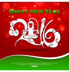 Monkey on red background new year 2016 creative vector