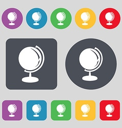 Globe icon sign a set of 12 colored buttons flat vector