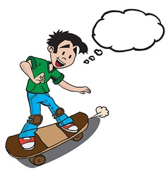 boy on skate with thought bubble vector image