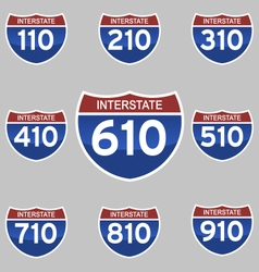 Interstate signs 110-910 vector