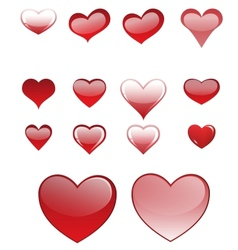 Set of different colored hearts vector
