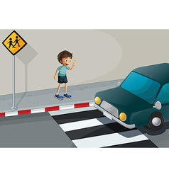 A boy waving at the car vector
