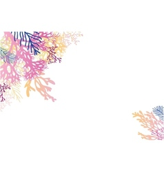 Abstract watercolor seaweed corner background vector