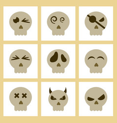 assembly flat icons halloween emotion skull vector image vector image