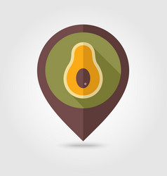avocado flat pin map icon tropical fruit vector image vector image