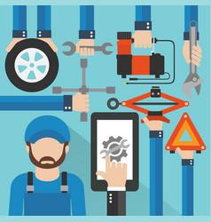 Car online service with repairer modern flat desig vector