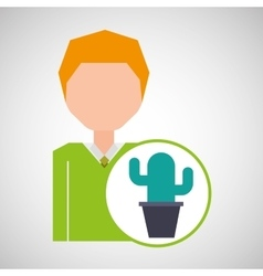 cartoon business man cactus office icon vector image