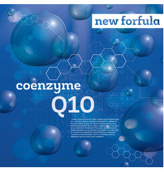 coenzyme q10 transparent bubbles on blue vector image vector image