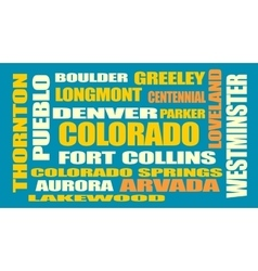 colorado state cities list vector image vector image