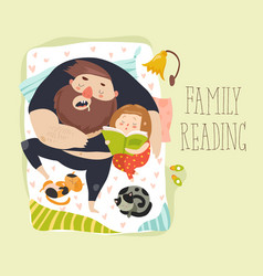 cute daughter reading bedtime story to his father vector image vector image