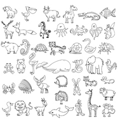 Doodle animals childrens drawing vector image