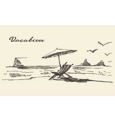 Drawn vacation poster seaside view beach sketch vector image vector image