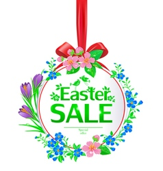 Easter sale banner round vector