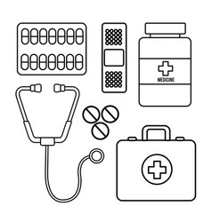 figure healthcare medications tools icon vector image vector image
