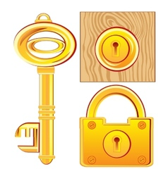 Gold key and lock vector