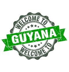 Guyana round ribbon seal vector