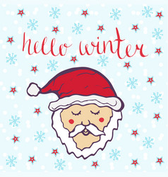 Hello winter with cute santa claus winter hand vector