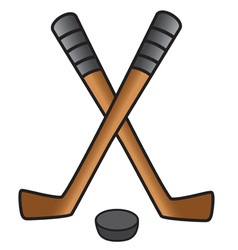 hockey stick puck vector image vector image